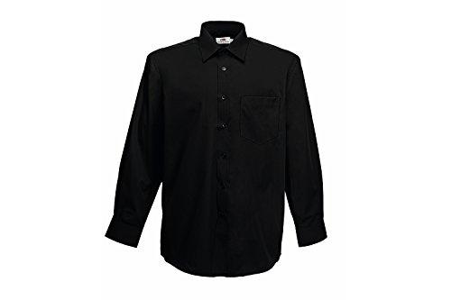 Fruit of the Loom Herren Long Sleeve Poplin Shirt Freizeithemd, Schwarz (Black 36), X-Large
