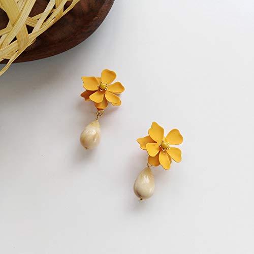 SALAN Temperamento Dolce Fiore retrò Senza Foro Clip Orecchini Vintage Giallo Petalo Flower Clip su Orecchini Senza Piercing