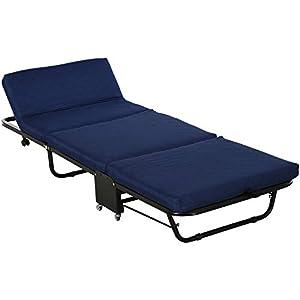 HOMCOM Cama Plegable Cama de Camping Portátil Ahorro de Espacio con Cabecera Ajustable en 5 Niveles de Ángulo 5 Ruedas Universales Carga Máx 120 kg 184x65x26 cm Azul