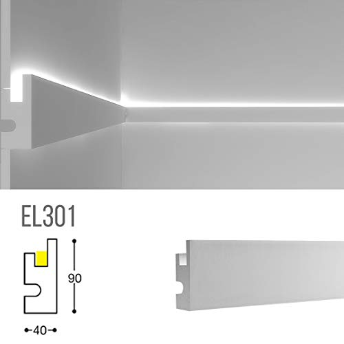 Cornice per illuminazione indiretta led a parete o soffitto - EL301 (1,15 metri)