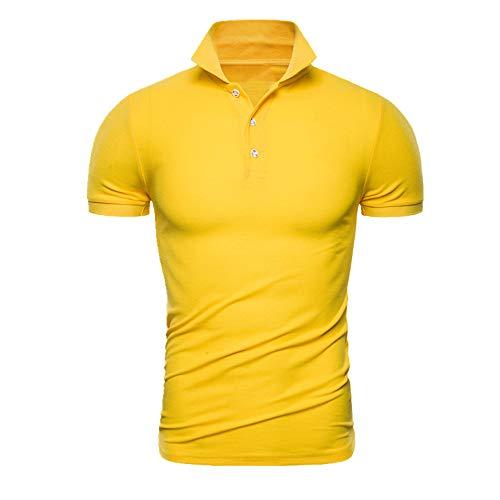 N\P Camisa de manga corta para hombre suelta, para primavera y verano, para hombre - amarillo - XX-Large