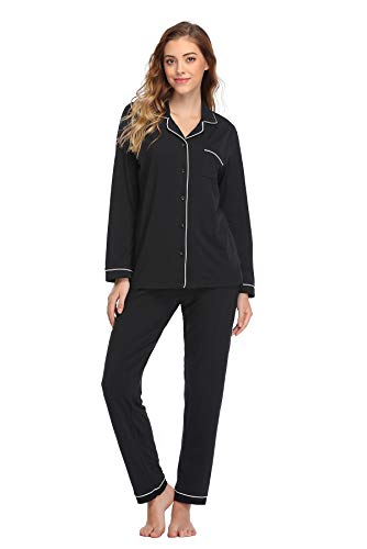 DKKK Womens Pajamas Set Notch Collar Long Sleeve Sleepwear Button Down Nightwear Soft Pj Lace Lounge Sets