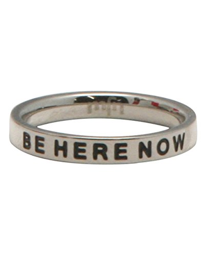 Buddha Groove Mindful Mantra Be Here Now Engraved Stainless Steel Inspirational Minimalist Meditation Ring | Band is 1/8 Inches Wide