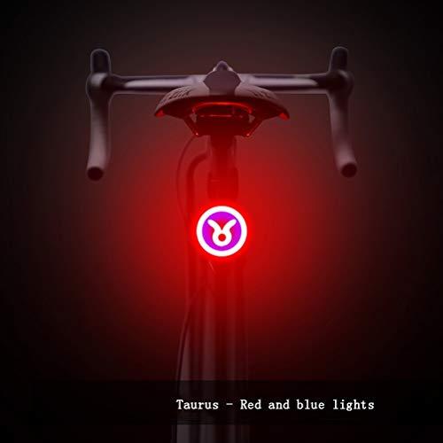 SYJH Luce LED Bici Costellazioni della Luce della Bicicletta Ricaricabile USB, Impermeabile, costante o Lampeggiante, Biciclette Light Set Montato su foderi (Colore : Taurus)