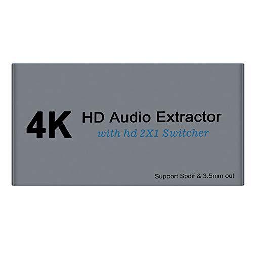 Conmutador HDMI 2x1 con extractor de audio, 2 puertos 4K30HZ, convertidor de audio HDMI con óptica y salida de audio estéreo de 3,5 mm, HDMI 1.4 HDCP1.4 para TV Box, DVD, PS4, PS3