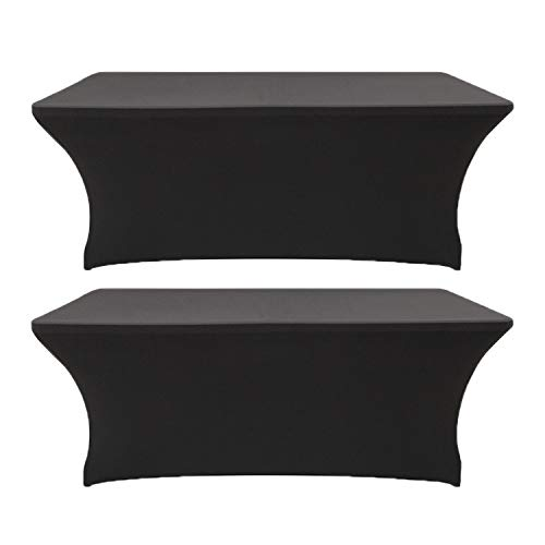 2 Pack 5ft Rectangle Black Cocktail Tablecloth with Stretch Spandex Fitted Table Cover for Bar Table Wedding Table Cocktail Table Massage Table Kitchen Table