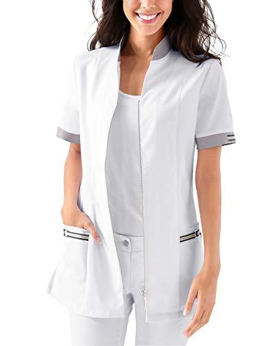 CLINIC DRESS - Kasack für Damen Weiß Grau Stretch weiß/grau 38