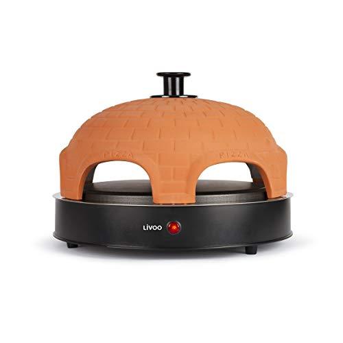 Livoo - Forno Pizza Party, Terracotta Dome | 6 Mini pizze Ø 11 cm o 1 Grande Ø25 cm | Cottura rapida | 1200W DOC226 Nero