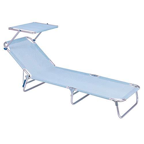 Tumbona Playa Cama Parasol Turquesa de Aluminio y textileno, de 190x58x25 cm - LOLAhome