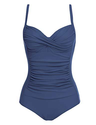 Ekouaer One Piece Swimwear Women's Tummy Control Swimsit Bathing Suit(Navy,XX-Large)