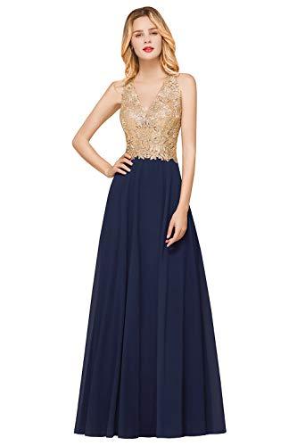 MisShow Damen Chic V Ausschnitt Abendkleider Applique Ballkleider Abschlusskleider Maxilang Kleid Navyblau 32