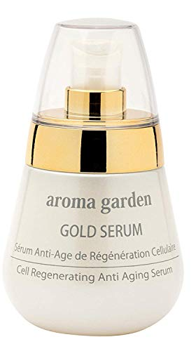 24k Gold Serum aroma garden - 100% natural & vegan anti aging serum face with 24 carat gold & hyaluronic acid for soft & smooth skin - Instant lifting effect + intensive care 50 ml