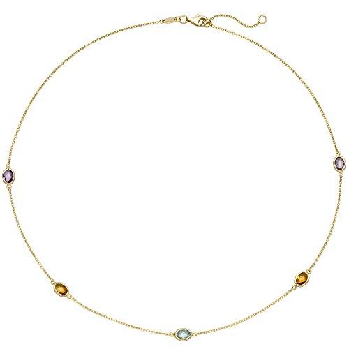JOBO Damen Collier Halskette Kette 585 Gold Gelbgold 2 Amethyste 2 Citrine 1 Blautopas