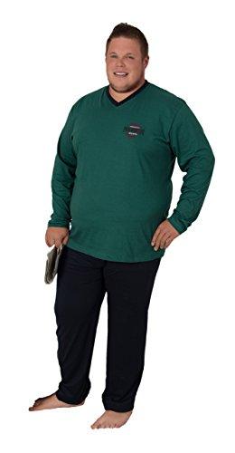 Herren Pyjama Langarm Schlafanzug unifarbiges Oberteil mit Motivdruck und unifarbige Hose in Grösse 58, grün/anthrazit
