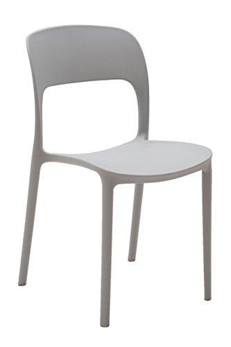 Fashion Commerce Set da Quattro sedie in Polipropilene Grigio, 4 unità