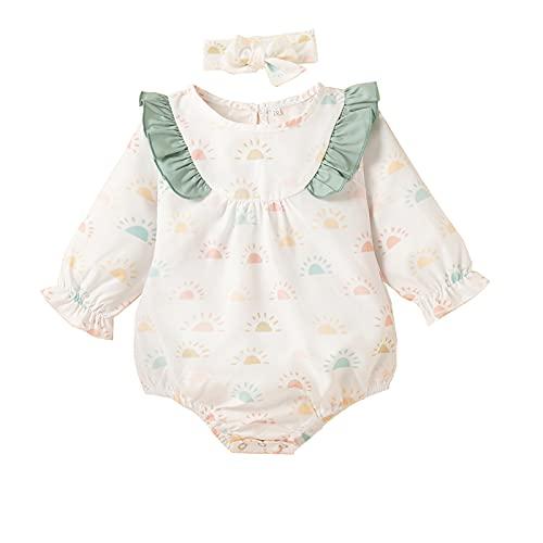 Dinnesis Body de manga larga para bebé recién nacido y niña con cinta para la cabeza, verde, 100 cm