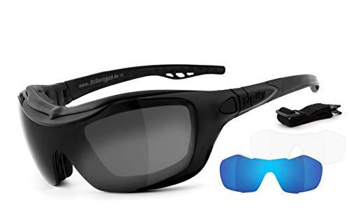 HELLY® - No. 1 Bikereyes®   Motorradbrille, Multifunktionsbrille, Bikerbrille   beschlagfrei, winddicht   Wechselgläser: Tag & Nacht (HLT® Sicherheitsglas)   Bügel & Band wechselbar   bandit 2