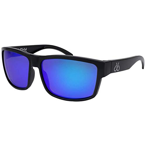 Filthy Anglers Ames Fishing Sunglasses for Men Polarized - Black Frame w/Blue Mirror Lenses