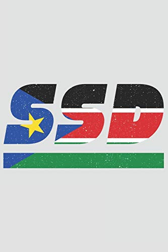 SSD: South Sudan notebook with lined 120 pages in white. College ruled memo book with the south sudanese flag