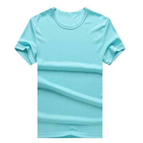 Camisetas Secado Rápido De Manga Corta Hombres Y Mujeres Deportes Al Aire Libre Desodorante Cuello Redondo Color Sólido Camisa Publicitaria Candy Blue(B)-S