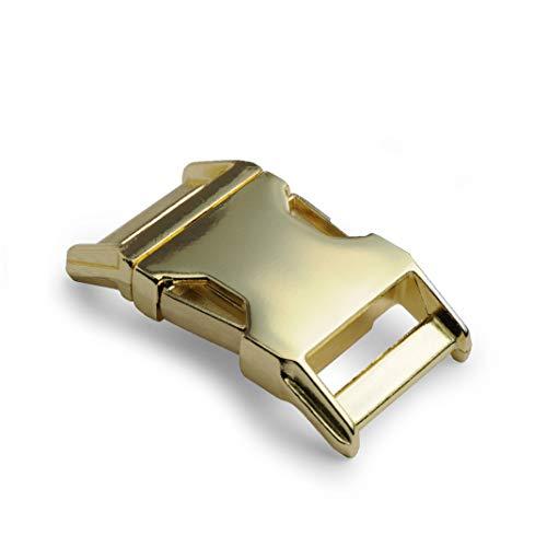 Chiusura a scatto in metallo Alumaxx, set da 2 pezzi, 3/4', chiusura a scatto, chiusura a scatto per braccialetti Paracord, collari per cani, zaini, superficie in ottone lucido, colore: oro