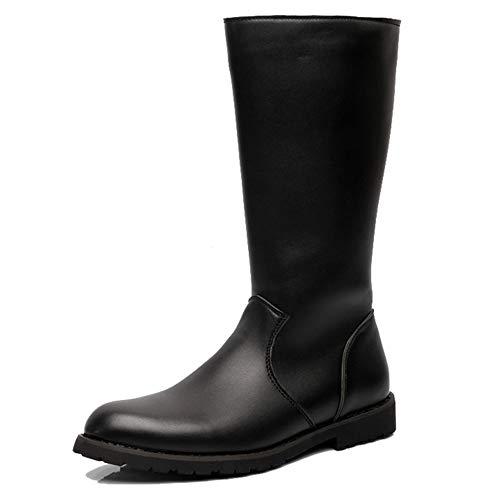 Yra Herren Long Boots Reitstiefel Wanderschuhe Leder Seitliche Zip Round Toe Martin Stiefel Für Männer Chelsea Boots Cowboy Boots,Black-38