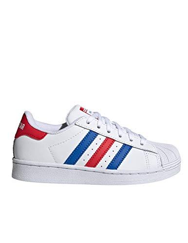 Adidas Superstar C - Scarpe da ginnastica da bambino, colore: rosso e blu Bianco Size: 32 EU