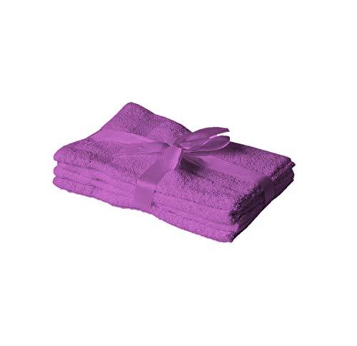 Exklusiv Heimtextil Juego de 4 toallas de invitados, 30 x 50 cm, lila