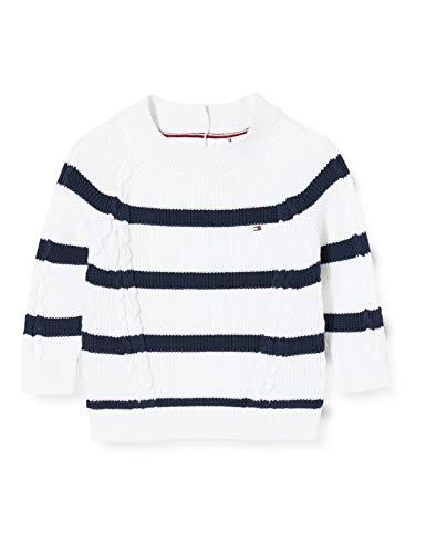 Tommy Hilfiger Nautical Sweater Sudadera, Blanco (White Stripe 01 0fa), 11-12 años (Talla del Fabricante: 12) para Niñas