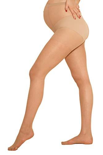 MAMARELLA Umstandsstrumpfhose transparent L, 15 DEN, MADE IN ITALY, elastische Schwangerschafts-Strumpfhose mit sanftem Stützeffekt, flache Nähte und hoher Bund, für alle Trimester