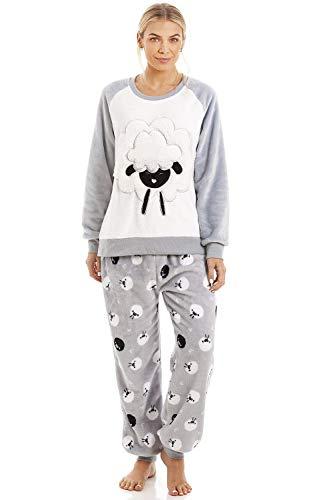 CAMILLE Superweiche warme Fleece-Charakter-Pyjama-Sets für Damen 46/48 Grey Sheep