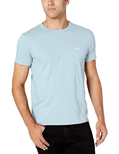 BOSS HUGO BOSS Men's Modern Fit Basic Single Jersey T-Shirt, Light Blue With White, S