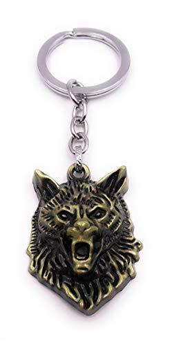 H-Customs Wolf Tierkopf böse Raubtier Hund Gold Schlüsselanhänger Anhänger