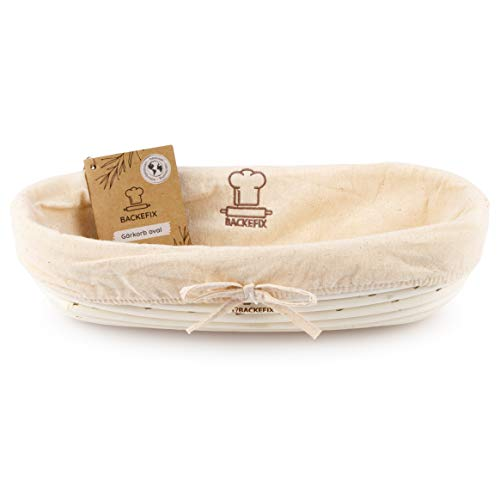 Backefix Gärkörbchen hochwertig natürlich Gärkorb für selbstgemachtes Brot - nachhaltig Zero Waste ovaler Brotkorb Gaerkorb aus Peddigrohr 30cm