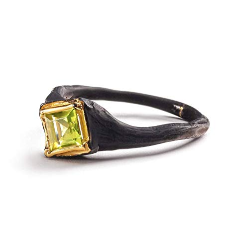 german kabirski 925 Sterling Silver Green Peridot Handmade Ring with Gold and Black Anthracite Plating Size 6.5