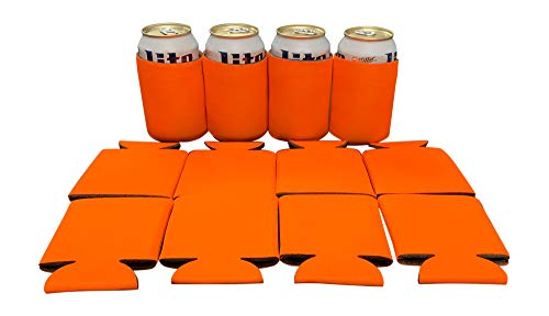 KP Kool Products Blank Beer Can Cooler Sleeves, Plain Bulk Collapsible Soda Cover Coolies, DIY Personalized Sublimation Sleeves for All Kind of Occasions and Parties (Orange, 12)