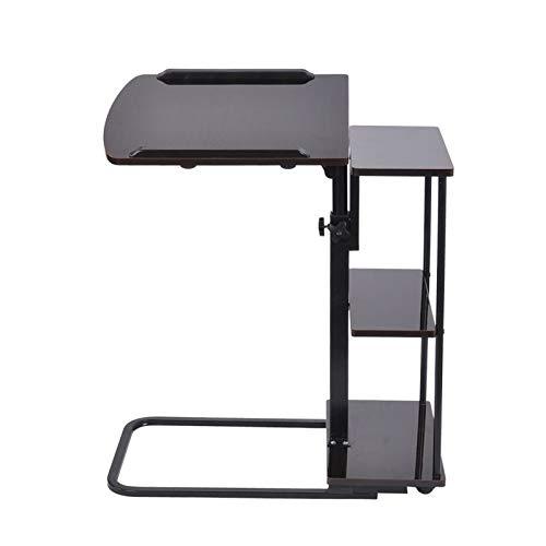 ABD Mesa de sobrecama con ruedas para el hogar, oficina, mesa con ruedas, altura ajustable, bandeja lateral para ordenador portátil, bandeja para sofá cama, mesa negra