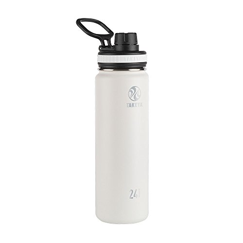 Takeya White Originals Vacuum-Insulated Stainless-Steel Water Bottle, 24oz