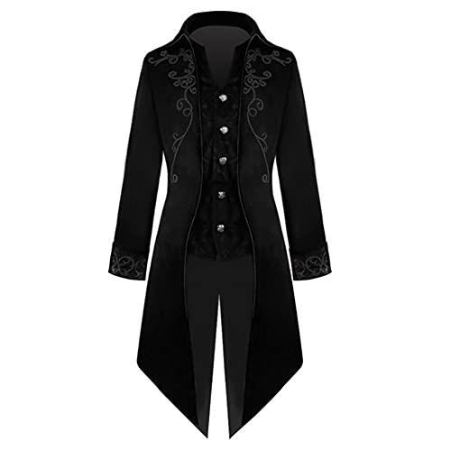 HANGH Disfraz para hombre, estilo steampunk, esmoquin, esmoquin, esmoquin, victoriano, renacimiento, gótico,...