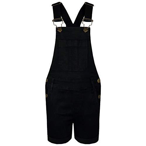 A2Z 4 Kids® Kids Meisjes Dungaree Shorts Ontwerper Zwarte Denim Stretch Jeans Jumpsuit Playsuit All in One Age 5 6 7 8 9 10 11 12 13 Jaar