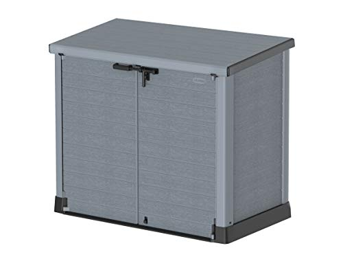Duramax Cedargrain StoreAway 1200L Plastic Garden Storage Shed / Flat Lid - Outdoor Storage Bike Shed – Durable & Strong Construction– Ideal for Tools, Bikes, BBQs & 2x 240L Bins, 145x85x125 cm, Grey