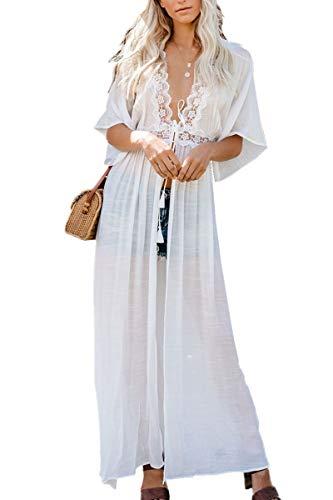 L-Peach Floral Encaje Vestido Largo de Playa Kimono Pareo de Algodón Bikini Cover Up para Mujer