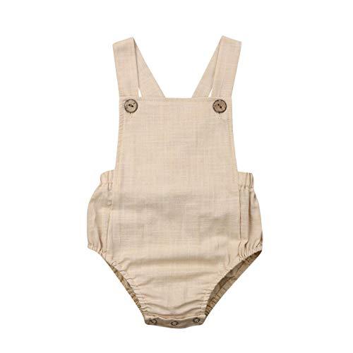 Mono Bebé Recien Nacido Pantalones Niños Algodón Cortos Mono Peto para Verano Casual Mameluco 2020 (Caqui, 12-18 Meses)