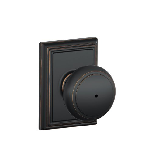 Schlage F40AND716ADD Addison Collection Andover Privacy Knob, Aged Bronze - F40 AND 716 ADD