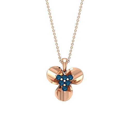Custom 1/2 CT Certificado topacio azul Londres Clúster Trilogía Floral Colgante Inspirado en la Naturaleza Oro de 14 k Declaración de tres pétalos, Regalo para ella, 14K Oro rosa Sin cadena