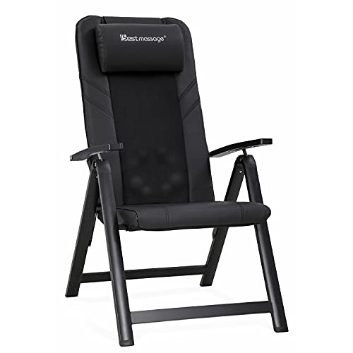 Folding Shiatsu Massage Chair Recliner Chair with Adjustable Backrest and Back Heating Portable Living Room Chair Accent Full Back Electric Full Back Massage Best Gift for Home Office ,Black
