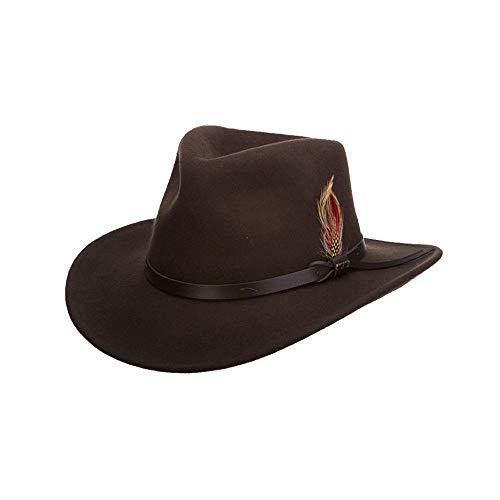 Scala Classico Men's Crushable Felt Outback Hat, Olive, Large