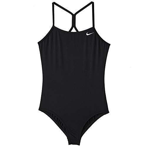 Nike Swim Girls' Big Racerback One Piece Swimsuit, Black 1, L