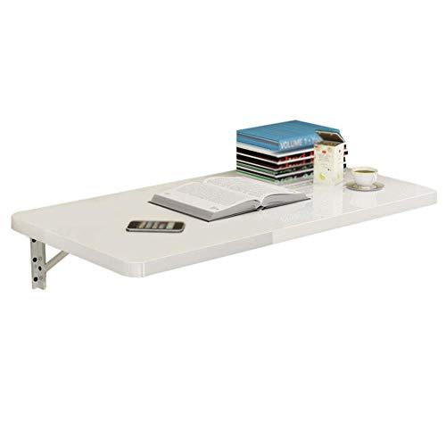 - Witte opklapbare wandtafel, keukenbureau en eettafel, ruimtebesparende wandtafel voor computerstudie, driehoekige beugel (afmeting: 60x50 cm)