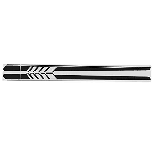Alamor 2pcs 220x11.5cm Longue Bande Graphique Autocollants de Voiture décalcomanies latérales de Corps de Vinyle Noir/Blanc/Bleu - Noir